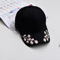 复古风梅花刺绣鸭舌帽 新款花朵棒球帽 休闲女士 帽子 可调节