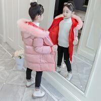 中长款韩版洋气儿童保暖棉袄潮童装冬装女童毛领棉衣