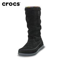 【下单立减120】Crocs女靴子保暖 秋季卡骆驰阿瑞安娜反绒平底中筒时装靴|14685 阿瑞安娜麂皮靴