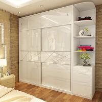 板式衣柜现代木质推拉门移门大衣橱整体衣柜卧室简易组合2门衣柜 +顶柜+带抽转角柜 2门 组装