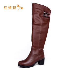 【专柜正品】红蜻蜓圆头纯色百搭时尚优雅女长筒靴