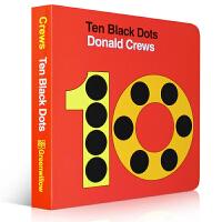 顺丰包邮 Ten Black Dots 纸板书 Donald Crews 吴敏兰英语启蒙绘本 适合可以用英语从1数到1