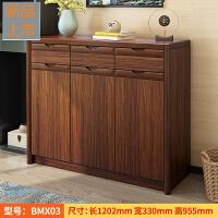 客厅玄关鞋柜实木框简约现代新中式门厅柜大容量木质多功能储物柜定制 组装