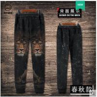 狮子头潮流印花休闲裤男宽松运动裤长裤束脚卫裤大码3D印花潮动物