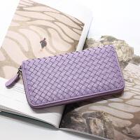12新款欧美多卡位羊皮编织钱包女长款拉链皮夹薄手机包女式真皮手拿钱夹 浅紫色 现货