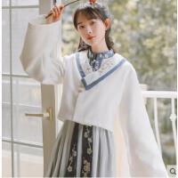 新款秋毛呢小个子短款冬装披风斗篷 中国风女生汉元素古风外套
