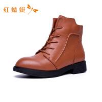 红蜻蜓女鞋冬季新款正品时尚通勤粗跟女靴中筒靴保暖棉靴子女棉鞋-