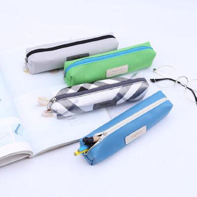 2只装】广博笔袋韩国简约创意铅笔大容量文具盒可爱学生用品礼品PU/牛津布款式随机多种颜色随机