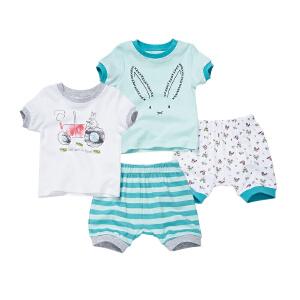 宝宝短袖裤卡通套装男童婴儿夏装纯棉透气休闲衣服2件套