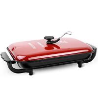 烤肉锅烤锅家用多功能无烟不粘韩式电烙锅烤鱼盘长方形烤肉机 邦尔5801红色