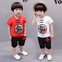 男童夏季短袖中国风汉服唐装套装T恤两件套1-2-3-4周岁女宝宝童装