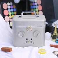 化妆包大容量小号便携韩国可爱化妆箱手提化妆盒小方护肤品收纳包 银色 大号