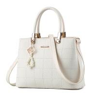 新款欧美毛球手提包 时尚女士包包杀手包大包简约单肩斜挎包女 米白色