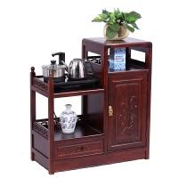 茶水柜酒水柜客厅储物收纳柜实木中式茶柜餐边柜茶车台纯净水桶柜 右高-红色 单门
