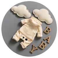 婴儿套装春秋冬加绒男女宝宝居家服长袖两件套婴儿分体3-6个月9潮