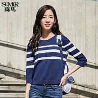 森马针织衫2017新款女士韩版条纹圆领套头百搭七分袖线衫女