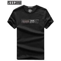 JEEP吉普短袖T恤男运动休闲薄款圆领t恤男士2018夏季新款宽松全棉时尚字母打底衫