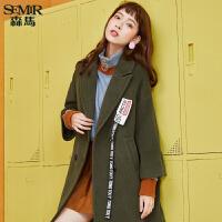森马毛呢女2017冬季新款女装呢子大衣潮流织带显瘦中长款外套韩版