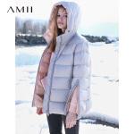 Amii极简港风连帽羽绒服2018冬新拉链中长90绒羽绒服.