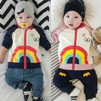 婴儿春秋上衣拉链衫新生儿满月秋装外套宝宝卡通卫衣0-1岁外出服