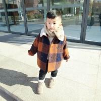 冬季新年格子呢大衣加棉厚男女中小儿童中长款韩版外套风衣羊羔绒