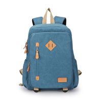 双肩包女帆布包学院风韩版书包14寸电脑包休闲百搭女包包 天空蓝
