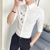 短袖衬衫男士五七分袖韩版潮流修身休闲春夏季发型师印花中袖衬衣