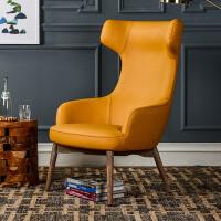 奇居良品 现代简约北欧风利来国际ag手机版 罗贝尔明黄色PU皮质客厅单人沙发