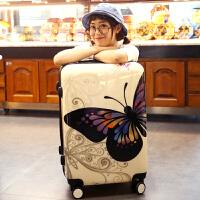 蝴蝶PC镜面拉杆箱女箱子万向轮旅行箱拖箱时尚登机箱20 24寸 蝴蝶