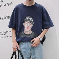 款男士圆领短袖韩版潮流五分袖人物宽松打底衫印花情侣T恤
