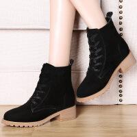 莫蕾蔻蕾秋短靴磨砂皮复古马丁靴女英伦真皮粗跟猪皮单靴6D590
