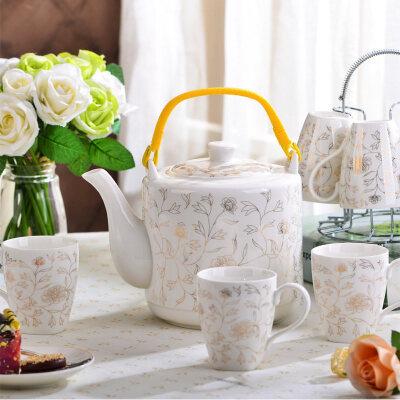 【支持礼品卡】水杯套装家用陶瓷杯具套装欧式茶具套装耐热冷凉水壶水具茶水杯子s3l 夏天喝水好用