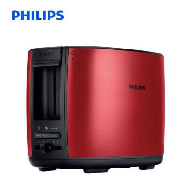 飞利浦(PHILIPS)多士炉吐司机全自动家用烤面包机加宽置中烤槽 HD2628/49 红色 随心调节温度,一键解冻或加热,防尘盖设计