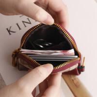 真皮拉链帆布硬币包钥匙包韩国迷你小钱包潮牛皮零钱包女短款