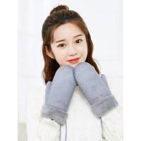 女士手套 麂皮绒可爱加绒加厚保暖挂脖韩版学生连指骑行手套