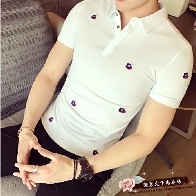 2017夏季新款英伦休闲男士POLO衫刺绣花朵T恤韩版修身百搭短袖T恤 发货周期:一般在付款后2-90天左右发货,具体发货时间请以与客服协商的时间为准