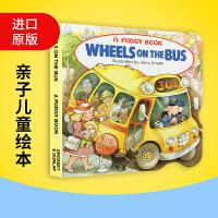 正版 Wheels on the Bus 哗哗巴士 英文原版英语纸板书 亲子儿童绘本进口书籍 巴士上的车轮 英文版睡前