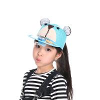 夏天儿童太阳能风扇帽子卡通小熊太阳能草帽圆顶草编鸭舌帽