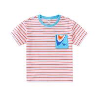【2件3折到手价:49】小猪班纳童装男童圆领针织衫2020春夏新款男幼童条纹短袖t恤卡通