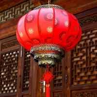 喜庆大红灯笼挂饰元旦新年春节现代中式阳台吊灯户外防水羊皮灯笼