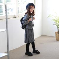 女童冬装套装2017新款 韩版 潮衣中大儿童加绒卫衣打底裙裤两件套