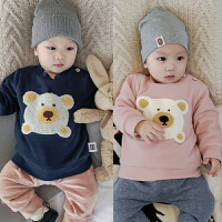 婴儿加绒冬季上衣宝宝绒衫加厚保暖T恤新生儿外出服03-6-9-12个月