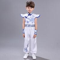 男女儿童古装裙子复古中式唐装夏季幼儿园古典青花瓷古筝演出服装