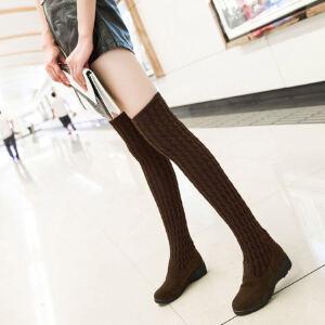 ELEISE美国艾蕾莎新品秋冬182-1-168韩版毛线平底鞋鞋女士毛线过膝长靴