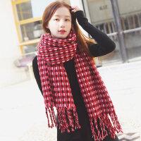 英伦复古格子学生针织加厚保暖仿羊绒流苏围巾女韩版百搭披肩