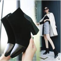 粗跟短靴女新款秋冬季韩版百搭短筒靴欧美性感尖头高跟女靴子