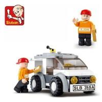 小鲁班益智积木B0359 快递车模型  拼装积木 塑料拼插  快递员 5片造型小巧适合摆放