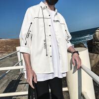 夏季新款男士原创几何图案印花中袖衬衣文艺百搭短袖衬衫