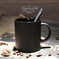 欧式高档陶瓷黑色哑光大容量马克杯子磨砂带勺咖啡杯水杯创意简约