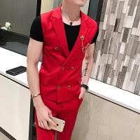 男士双排扣马甲西装两件套纯色青年韩版酒吧歌手DJ修身九分裤套装